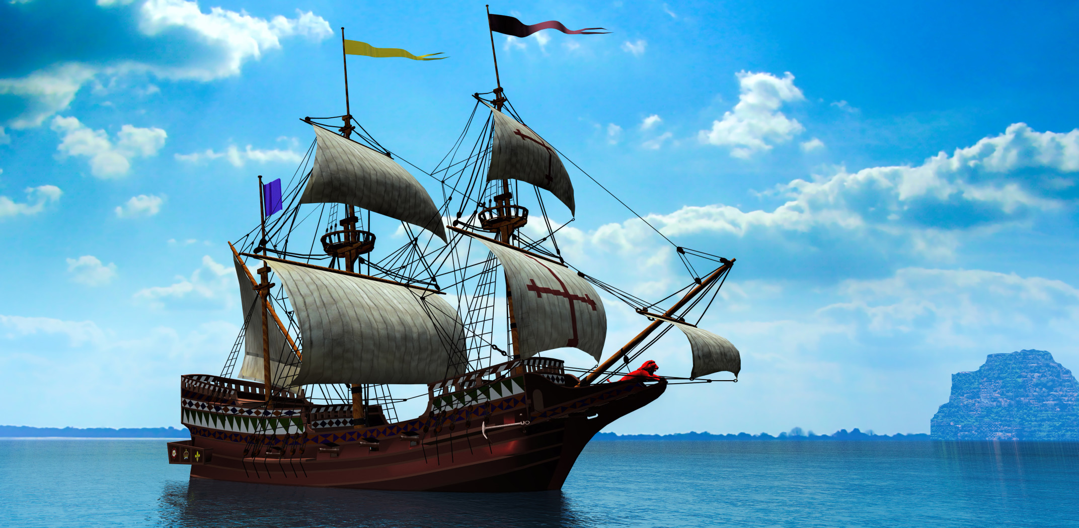 Spanish galleon on calm and blue sea